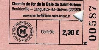 Billet Chemin de Fer de la Baie de Saint-Brieuc